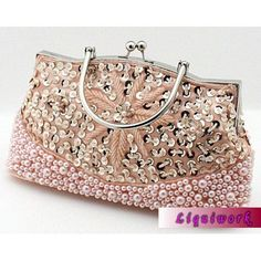 Champagne Sequin Beaded Soft Bridal Wedding Clutch Bags Purses Discount  SKU-1110537