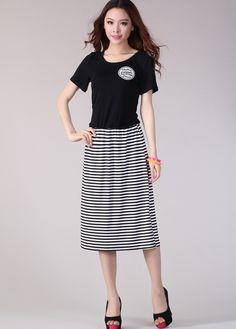 ae2fb3863564 Fresh Stripe Causual Big Size Korean Dress