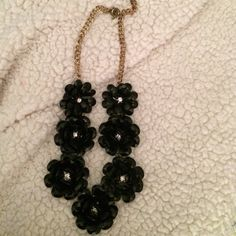 Black Flower Rhinestone Necklace Black Flower with Diamond Rhinestone. Gold Chain. Costume jewelry. Jewelry Necklaces
