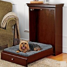 """Want this for my sweet dog: The innovative Pet Murphy Bed provides a comfy fold down bed alternative to traditional pet beds. Space saving, just fold up when not in use. Easily blends in with existing furniture. Stylish and compact with a contemporary raised panel front.    Pet Murphy Bed dimensions (closed): 24"""" W x 36""""H x 10"""" D.    Mattress dimensions: 23""""W x 28""""L x 3"""" Thick., avail in grey or white.  For small to medium dogs.  Holds 200lbs.  Eco Friendly: Made from tree farmed Rubber Wood"""