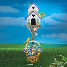 Adorable Birdhouse Garden Yard Stake with Sparkling Lights Front Door Decor #BirdHouse #Adorable #GardenStake #YardStake #Lights #PreLit #Sparkling #Frontdoor #DoorDecor #YardDecor #Stake #GardenDecor #Birds #OutdoorLiving #HomeDecor