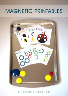 Kids LOVE these! Free magnetic printables, perfect for busy bags, or quiet time! Quiet Time Activities, Toddler Activities, Learning Activities, Teaching Ideas, Cookie Sheet Activities, Playdough Activities, Early Learning, Kids Learning, Busy Bags