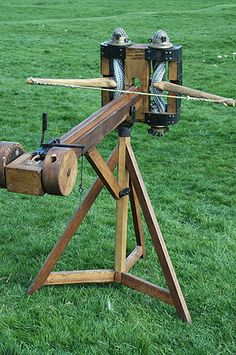 Scorpio-Ballista.A photo of a recreated Roman ballista-type 'Scorpion' catapult. In essence it's much the same, but smaller than a basic 'ballista'. However, this machine was devised as a piece of field artillery. Unlike the full-sized ballista which was a siege engine firing stone balls, the scorpio supported Roman infantry on the battle field by firing bolts at enemy.