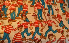 Vtg 1990 WHERES WALDO Twin Fitted Bed Sheet Polyester Cotton Fabric Material  #SpringsIndustriesInc #Novelty