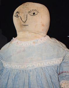 Antique Doll Cloth Unusual Folk Art Dressed