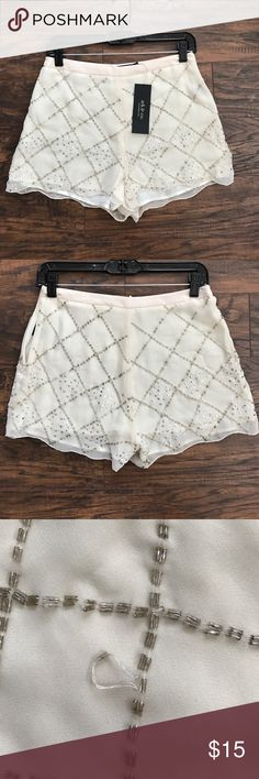 Ark & Co Beaded Shorts Pretty beige shorts, would be great for a summer evening out. Slight snag on one of the beads can probably just pull it through. Ark & Co Shorts