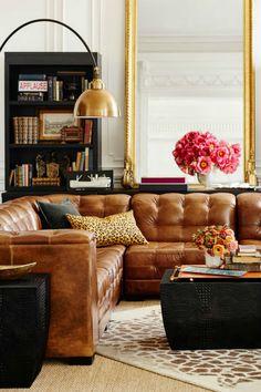 Living Room Inspiration: Tan Leather Sofa | Living Room Set. Modern Sofas. Brown Leather Sofa. #modernsofas #livingroomdecor #leathersofa Read more: http://www.brabbu.com/en/inspiration-and-ideas/interior-design/living-room-inspiration-tan-leather-sofa