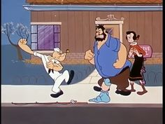 Popeye prepares to punch Brutus as Olive Oyl and Swee'Pea look on | Popeye the Sailor: Strange Things Are Happening (1961) | Keywords: Seymour Kneitel (director)