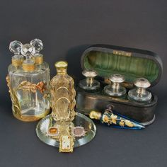 Antique French Triple Perfume, Scent Bottle Casket 1800's from trinityantiques on Ruby Lane
