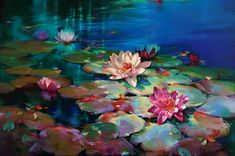 Donna Young's colorful oil paintings capture the beautiful vibrancy of water lily ponds, complete with mesmerizing ripples and sparkling reflections. Water Lilies Painting, Pond Painting, Lily Painting, Oil Painting Flowers, Oil Painting Abstract, Watercolor Artists, Watercolor Paintings, Arte Floral, Beautiful Paintings
