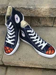 f9210e977782 Items similar to Basketball Bling Converse High Tops. Toddler Custom Made  Converse. Basketball Girls. 1st Birthday Outfit