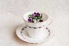 MAYFAIR Purple Violets Vintage Bone China Teacup/Saucer/Shabby Chic