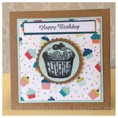 Randis hobbyverden: Happy birthday med muffins i blått