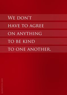 We don't have to agree on anything to be kind to one another.  – #attitude #kindness http://quotemirror.com/s/7p6ph