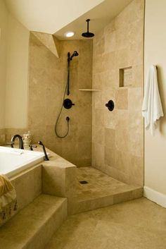 Doorless Shower Ideas Walk In Doorless Shower Ideas Walk In. Walk-in showers nowadays have been a trend and a lot of people have preferred them over the regular ones. Walk-in showers add to the ove… Showers Without Doors, Open Showers, Walk In Shower Designs, Luxury Shower, Shower Suites, Shower Surround, Bathroom Design Small, Bathroom Designs, Bathroom Fixtures