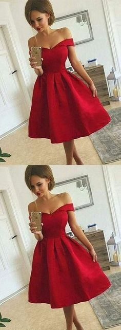 Off Shoulder Graduation Dresses, Short Prom Dresses, Satin Homecoming Dresses,Red Party Dresses#180415