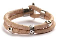 Zelfmaakpakket DQ econappa armband, Pastel Abrikoos, 1 st