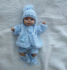 """Hand knitted dolls Clothes to fit  6.5""""  OOAK BABY"""