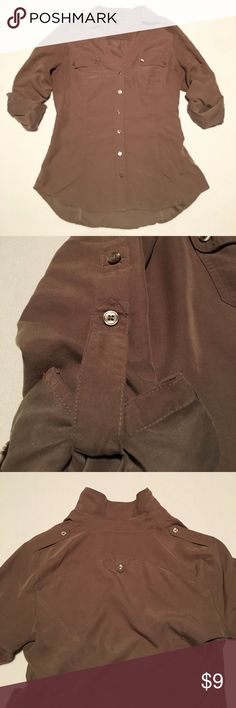 Express gold/tan button down adjustable sleeves Color is dark gold/light brown. Buttons are shiny bronze. Pockets and other button detailing. Sleeves can be rolled all the way down or adjusted at two different lengths. Size S. Express Tops Button Down Shirts