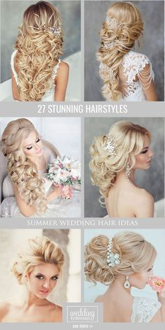 45 Summer Wedding Hairstyles Ideas Summer wedding hairstyles are different, because brides have many options for long hair or medium hair. We have collected the best bridal ideas for you! Summer Wedding Hairstyles, Fancy Hairstyles, Bride Hairstyles, Bridesmaid Hairstyles, Hairstyle Ideas, Summer Hairdos, School Hairstyles, Everyday Hairstyles, Curly Hairstyles