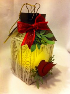 Stampin Up milk carton die made from vellum stamped with SU hardwood BG stamp. Added a two step punch bird and tea light. 3d Christmas, Stampin Up Christmas, Christmas Ornaments, Mini Milk, Milk Box, Bird Crafts, Paper Crafts, Milk Carton Crafts, Light Crafts
