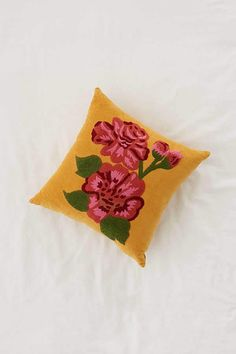 Urban Outfitters Rosa Embroidered Velvet Throw Pillow