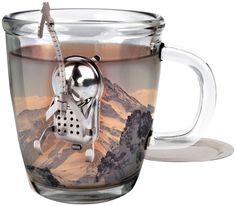 Kikkerland mountain climber hiker mountaineer tea infuser strainer, brewer. Novelty Gift and design
