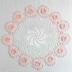 Picture of Peach Rosewhirl Doily Crochet Pattern Crochet Doily Rug, Crochet Doily Diagram, Vintage Crochet Patterns, Lace Doilies, Yarn Crafts, Pattern Paper, Peach, Crochet Kitchen, Tablecloths