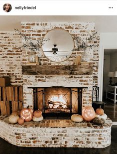 Fireplace Decor, Rustic Fireplaces, Home Fireplace, Decor, White Wash Brick Fireplace, Home Living Room, Cottage Fireplace, Brick Fireplace Makeover, Home Decor