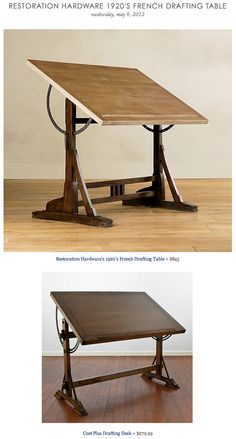 RESTORATION HARDWARE 1920'S FRENCH DRAFTING TABLE vs COST PLUS DRAFTING DESK