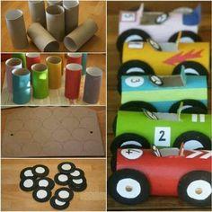 Cristina  Goia Manualidades (coches )  hechas del cartón del papel higiénico pintados. Una buena idea  para utilizar en un escaparate de una tienda de juguetes. Llama la atención es fácil de hacer y muy económico.