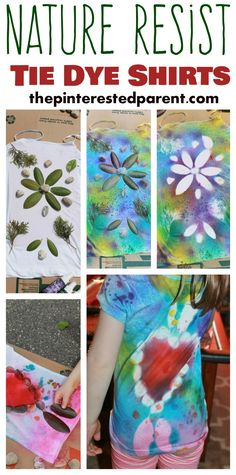 Nature Resist Tie Dye t-Shirts - These t-shirt designs were made from rocks, leaves, twigs & other things found in nature. This is a fun spring or summer art activity & craft for kids or for adults.