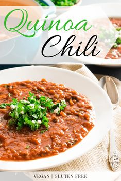 This easy and Kale and Quinoa Chili is the perfect marriage of flavor and nutrition. Packed with nutrient-dense beans, superfood kale, and hearty quinoa, it's a perfect healthy sub for traditional taco soup! Quinoa Salad Recipes, Healthy Soup Recipes, Chili Recipes, Easy Dinner Recipes, Easy Meals, Healthy Dinners, Gluten Free Soup, Best Gluten Free Recipes, Dairy Free Quinoa Recipes