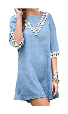 ARJOSA Womens 34 Sleeve Tassels Loose Fit Denim Blouse Short Mini Dress Small Blue ** Click on the image for additional details. (Note:Amazon affiliate link)
