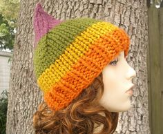 Rainbow Gnome Hat Autumn Sunrise Chunky Knit Hat by pixiebell