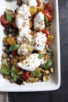 The Italian Dish - Posts - Appetizer of Eggplant, Tomato and Burrata with AnchovyBreadcrumbs