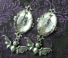 Rather Fabulous Victorian Bat Girl Earrings by PersephonePlus, $22.00