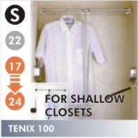 LIFT700-1 - Tenix Wardrobe Lift, 18-24 inches. The ideal for shallow spaces. This Tenix is constructed 25% smaller than a typical wardrobe lift, with a shorter arm length and radius so it can operate where larger lifts can't. A thin housing mechanism and simple lines make the Tenix 200 an attractive and practical garment storage solution. 22 lb capacity. Available in Black and Polished Chrome finishTenix100 tenex