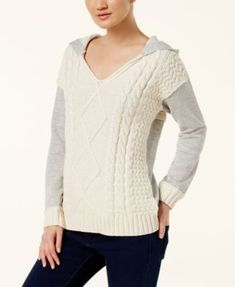 INC International Concepts Mixed-Media Hooded Sweater, Created for Macy's
