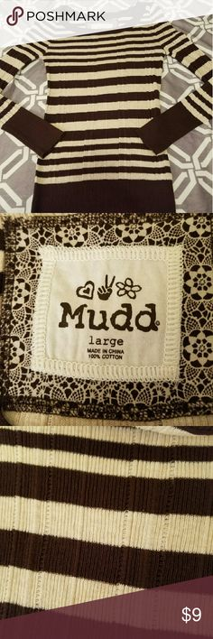 Mudd Sweater Cream and brown. Barely worn. In great condition. No stains or flaws. Size large juniors. Fitted. Mudd Sweaters Crew & Scoop Necks