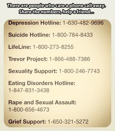 There are people who care just a phone call away. Share these hotline numbers and help someone you know, or yourself.