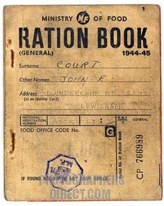 Get Ready, YALL. WWII ration book I still have the ration books of my parents, including those belonging to my brother & I as babies. World History, Family History, World War Ii, The Blitz, Thats The Way, Interesting History, The Good Old Days, American History, British History