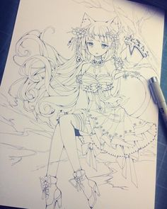 Inking done... Amg this took so long... But was fun to do xD #cyome