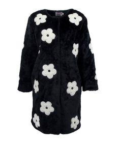 Prada Spring 2013 White Daisy Applique Black Crushed Velvet fur Coat