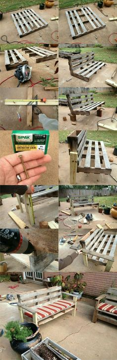 tutoriel-pour-fabriquer-un-banc-en-palette-a-partir-d-une-seule-palette-model-idee/ delivers online tools that help you to stay in control of your personal information and protect your online privacy. Diy Pallet Projects, Woodworking Projects Diy, Pallet Ideas, Wood Projects, Woodworking Plans, Outdoor Projects, Garden Projects, Palet Exterior, Palette Deco