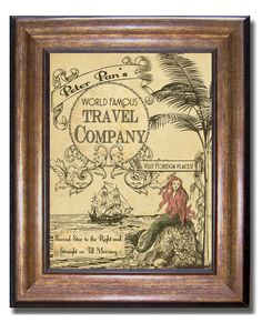 Peter Pan - World Famous Travel Company - Vintage Style Poster - Available in multiple sizes: 11x14, 8x10, and 5x7, (inches).