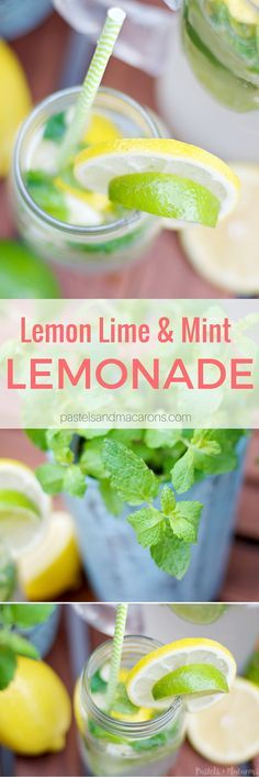 Lemon Lime & Mint Lemonade by Pastels & Macarons. Low calorie and tasty drink. Perfect for Summer & Spring! #drinks #drink #homemade #recipe #citrus #fruit #citrusfruit #lemonade #mint