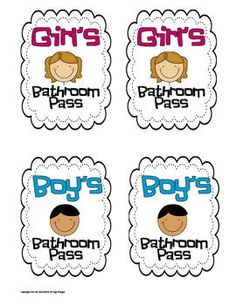 School Bathroom Pass Templates Can I Just Say How Much I Love