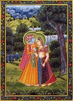 Radha krishna in a romantic mood - miniature...