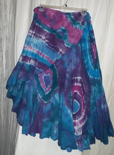Wow!  I want this!  Purple Blue Green Cosmos Tie Dye Tiered Ruffle Wrap Skirt. $35.00, via Etsy.